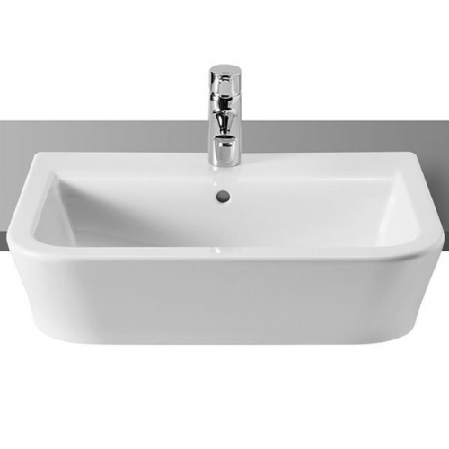 Roca The Gap Square Semi-Recessed Basin - 560mm - 1 Tap Hole - White